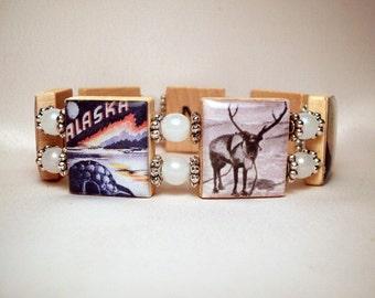 ALASKA JEWELRY / SCRABBLE Bracelet / Unusual Gifts / Handmade