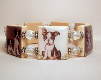 BOSTON TERRIER Bracelet / Scabble Jewelry - Tiles Spell WAGTIME Inside / Dog Lover / Unusual Gifts -1