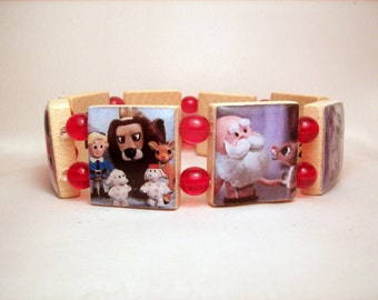 RUDOLPH the Red Nosed Reindeer / Bracelet / Christmas Jewelry / Upcycled Scrabble Art