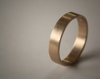 Recycled Hand Forged 14k Yellow Gold Ring 4mm Band Eco Friendly Metal