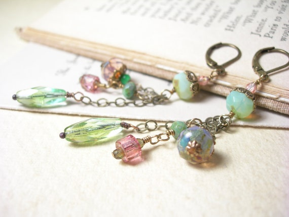 Reserved for Cindy, Olive glass earrings mint green seafoam glass African trade beads pastel fashion