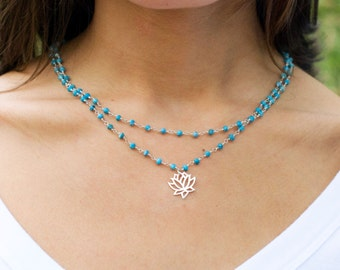 Silver Lotus Necklace, Turquoise necklace, Lotus necklace, yoga, boho, Double layer necklace