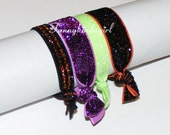 Halloween Glittery Hair Tie Set Striped Orange Black Neon Green Elastic Sparkle Bracelet Bands 4 Piece