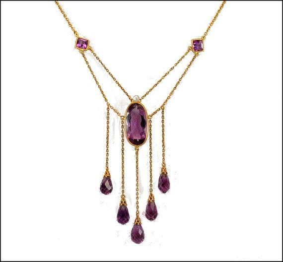 Amethyst Pearl 14K Gold Edwardian Necklace Antique Jewelry Wedding Jewelry Downton Abbey