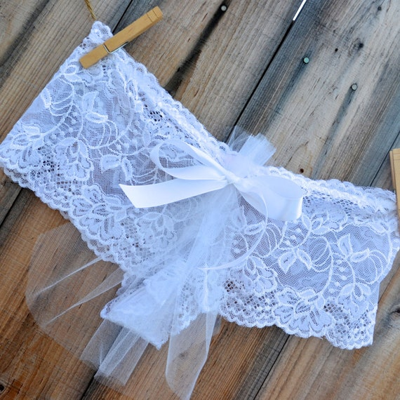 romantic Bridal Panty Lingerie TULLE train for a CUTE bridal BUM that says i do in rhinestones size medium