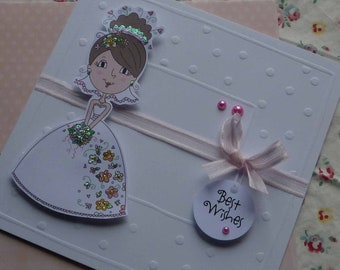 BEST WISHES - Handmade blank greeting card with sweet bride