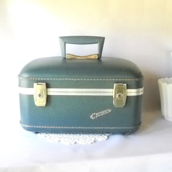 Vintage Train Case Monarch Train Case Retro Slate Blue Cosmetic Case Vanity Case Mad Men Era Travel Luggage Suitcase