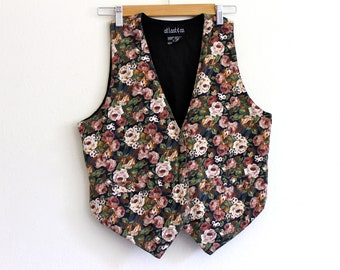 90s Ditsy Floral Cotton Punk Grunge Indie Slouch Hipster Shirt Vest . SM . D035