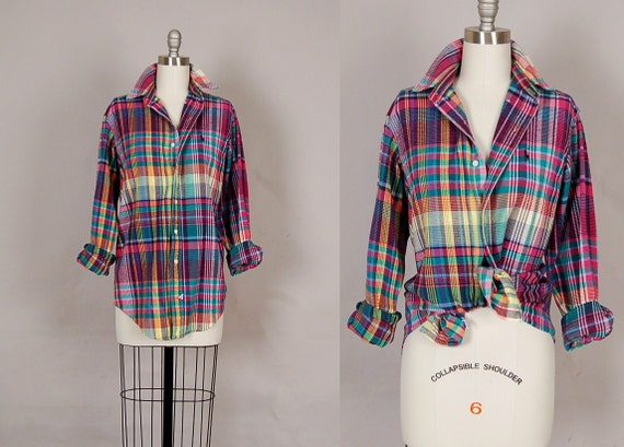 reserved for tinybaday............vintage 1980s shirt 80s shirt plaid long sleeve designer ralph lauren cotton pink