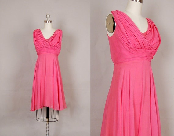 60s silk chiffon dress, vintage 1960s dress, 60s dress silk chiffon cocktail party bubble pink