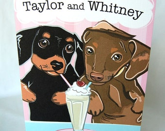 Doxies in Love Greeting Card - Customized with Your Names