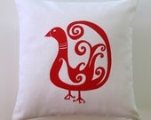 Bird Pillow Cover - 16 x 16 inches - Choose your fabric and ink color