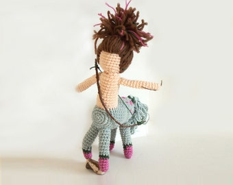 Crocheted Strange Art Doll Amigurumi Sagittarius Centaur - handmade Zodiac Sign - self standing Firenze - FREE SHIPPING - Waldorf  gift