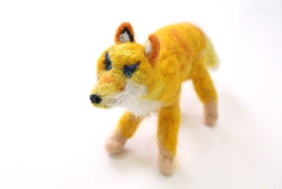 Yellow Needle Felted Fox, Waldorf soft sculpture, posable woodland, Free Shipping,Steiner toy, red white orange forest, boho decor, cottage