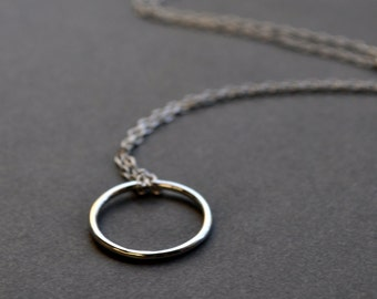 Simple Sterling Silver Circle Necklace. Minimalist Jewelry. Endless.