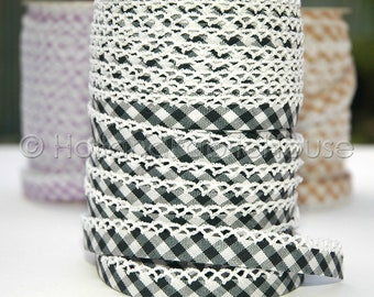 Black double fold crochet edge bias tape, crochet bias tape, lace bias tape, black bias tape, black gingham bias tape, black bias binding