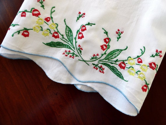 Unused Vintage Pillowcase - Bold Red and Yellow Flowers