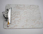 Vintage White and Gold Marbleized Clipboard