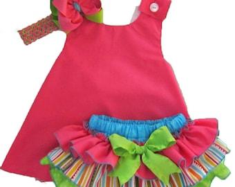 Cross Back Pinafore Dress and Sassy Pants Ruffled Diaper Cover Set Candy Shop Hot Pink Green Blue