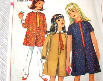 1960s Girls Dress Pattern Simplicity size 7 Girls Pleated Dress with Tie Vintage Sewing Pattern 60s
