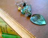 Patinaed leaf and Czech glass bead earrings