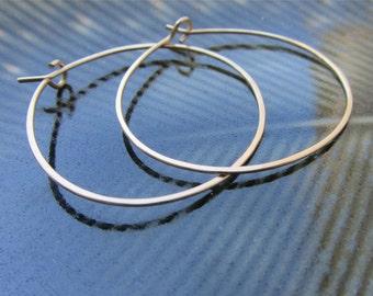 1.5 inch Medium Gold Hoop Earrings, Hammered Gold Filled Hoop Earrings, Gold Hoops, Sterling silver hoops