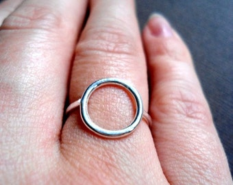 Sterling Silver Circle Ring, Silver Ring, Skinny Ring, Open Circle Ring, slim ring
