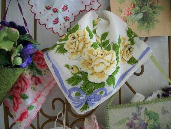 Vintage Yellow Roses Hankie, Hanky, Handkerchief,  Bouquet of Roses, Yellow Rose Hankie, Yellow Posies, Romantic Cottage Home