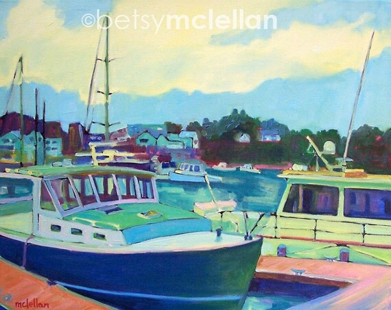 Camden, Maine Harbor - Lobster Boat - Paper - Canvas - Wood Block - Giclee Print