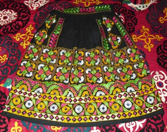 Gorgeous Rajasthani Hand Made Hand Embroidered Skirt with Flowers and Mirrors L XL
