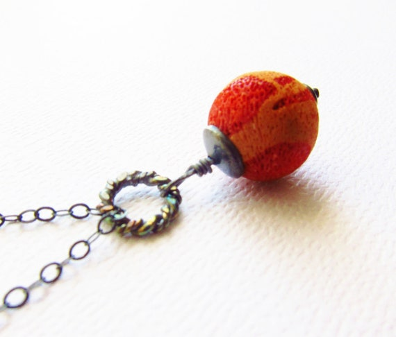 """Natural Coral Necklace Round Ball Stone on Delicate 18"""" inch Sterling Silver Chain - Oxidized Black"""