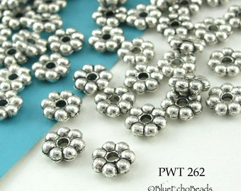 6mm Pewter Spacer Beads Daisy Spacer, Antiqued Silver (PWT 262) 60 pcs BlueEchoBeads