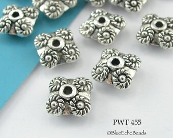 9mm Square Spacer Bead Pewter Circles at Corners  (PWT 455) 10 pcs BlueEchoBeads