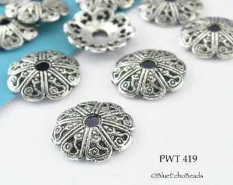 13mm Pewter Bead Caps, Antique Silver, Swirls (PWT 419) 20 pcs BlueEchoBeads