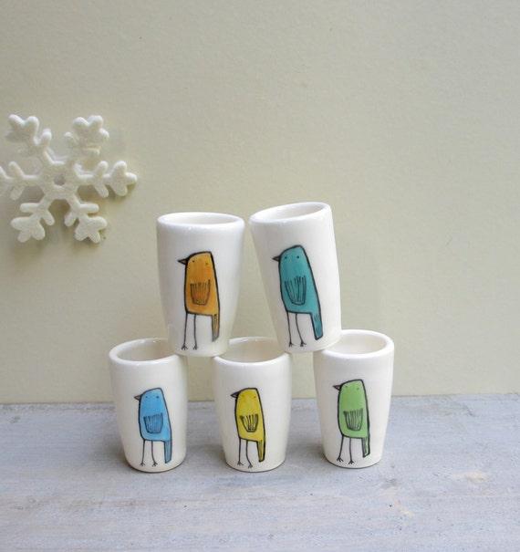 Small ceramic bird vases, set of 5 green, blue, green, yellow aqua and orange bud vase, spring garden vases, for her