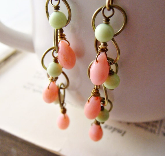 Coral Bright Green Gaspeite Antiqued Brass Link Chain Earrings