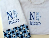 Boutique Custom Monogrammed Personalized Baby Bib and Burp Cloth