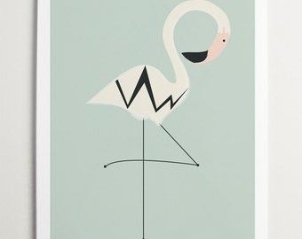Modern Nursery Bird Art, Flamingo by ModernPOP