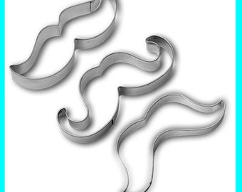 Cutting Shapes, Mustache Cookie Cutters, Movember, Mustache Cookies, Gift for Baker, Stainless Steel, 3 Pack