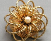 Vintage Brooch - Atomic - Hypersphere -Spiral - Pearl Bead - Goldtone Pin - Mid Century Modern