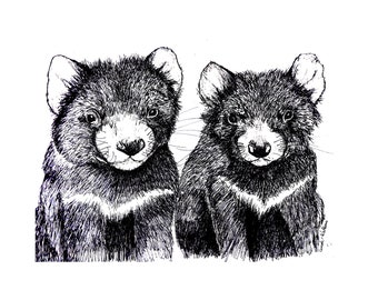 Tasmanian Devil on cotton black and white Fabric Panel Designed by Cindy Watkins
