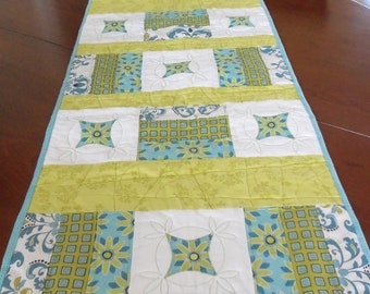 Blue and Green QuiltedTable Runner