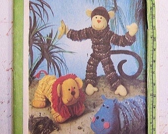 Simplicity 9157 Toy Package Monkey, Lion, Hippo Vintage Sewing Pattern UNCUT