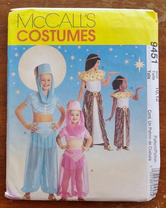 McCalls 9451 Genie & Cleopatra Halloween Costumes Sewing Pattern Girls Size 10, 12 UNCUT