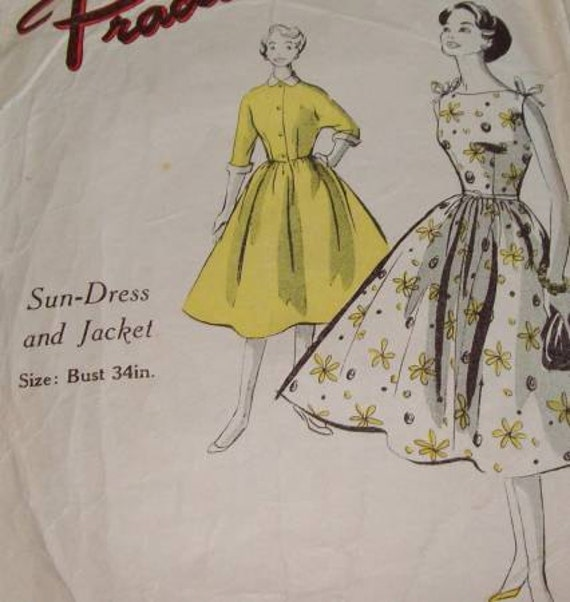 Let the Sunshine - Vintage 1950's Sun Dress & Jacket Sewing Pattern