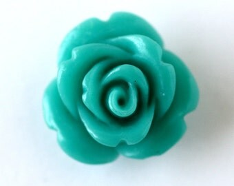 4 Small Carved Rose Beads, Blue (RST1)