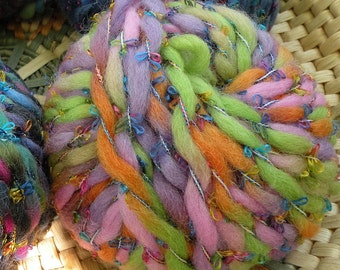 YARN bulky wool pink green orange purple lime, chunky 1 skein Giglio wool blend by Laines du Nord bright multicolor Life's an Expedition