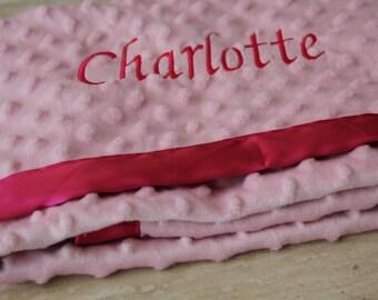 "Personalized Minky Fleece/Satin Large Baby Blanket (30"" x 36"")"