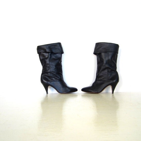 80s Slouch Boots / Vintage 1980s Boots / Black Cuffed Boots / Size 8.5