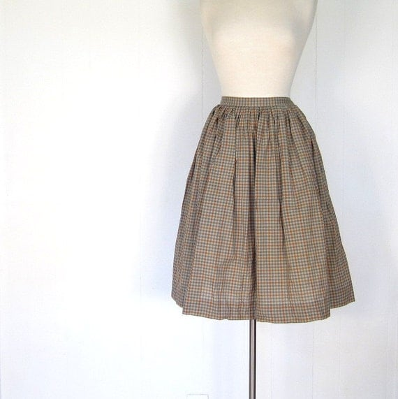 1950s Gingham Skirt / 50s Full Skirt / Fern and Clay / 26W Small S